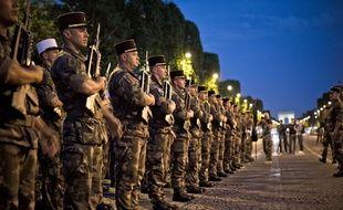 Les repetitions de la Legion Etrangere, se sont deroulees sur l'avenue des Champs Elysees, Paris, France, le 10 Juillet 2017.