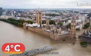 Londres sous les eaux à cause du réchauffement climatique dans cette simulation réalisée par l'institut de recherche Climate Central.