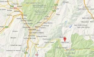 Carte de localisation de l'Alpe d'Huez dans l'Isère (38).