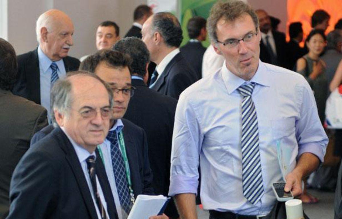Noël Le Graët et Laurent Blanc à Rio de Janeiro, le 30 juin 2011. – V.Almavy / AFP