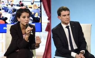 La ministre de l'Education nationale, Najat Vallaud-Belkacem, à côté du Premier ministre Manuel Valls, le 22 janvier 2015 à Paris