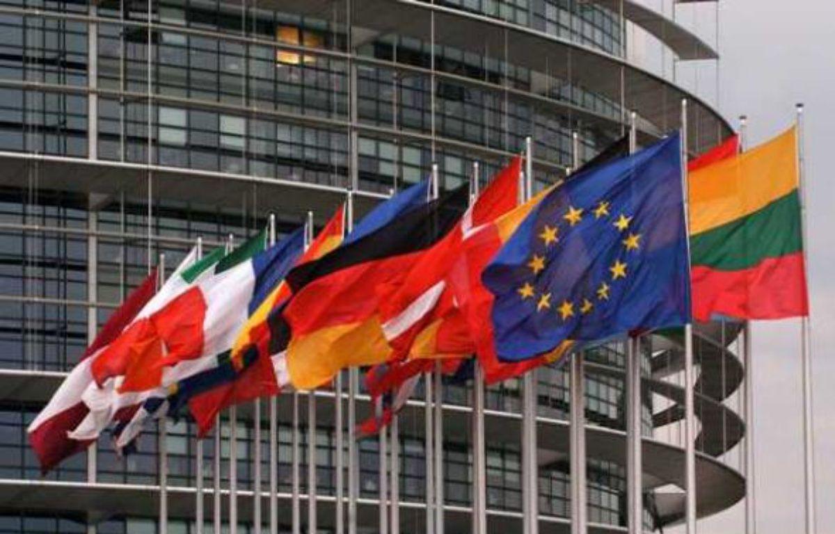 Drapeaux devant le Parlement européen à Strasbourg en avril 2008. – KAISER ANDREE/SIPA