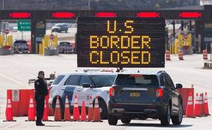 La frontière entre les Etats-Unis et le Canada fermée, le 22 mars 2020 (illustration).