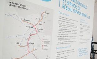 La carte du tracé du Réseau Express Grand Lille.