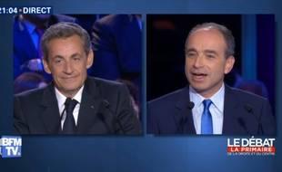 Sarkozy et Copé lors du 2e débat de la primaire à droite.