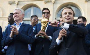 Les Bleus à l'Elysée après leur victoire à la Coupe du monde de juillet 2018.