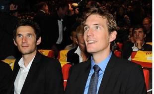 Andy Schleck en compagnie de son frère Frank lors de la présentation du parcours du Tour de France 2012
