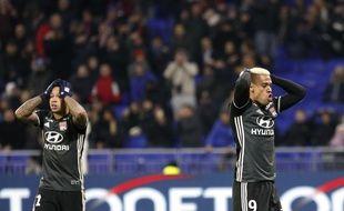 Memphis Depay et Mariano Diaz, ici après une grosse occasion manquée contre Lille en novembre (1-2), n'ont pas toujours été complices sur le terrain, loin de là.