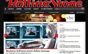Capture d'écran du site Rolling Stone, qui consacre Julian Assange personnalité rock de l'année 2010.
