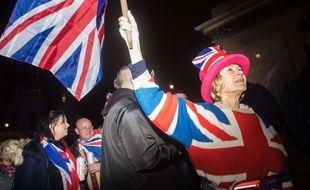 Célébrations à Londres le 31 janvier au moment du Brexit.