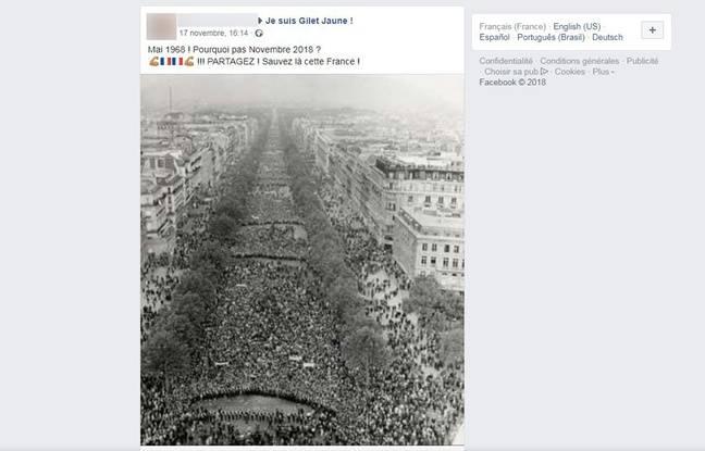 Cette photographie montre une manifestation en soutien au général De Gaulle à Paris, le 30 mai 1968.