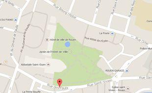 Capture d'écran d'une Google map du centre-ville de Rouen.
