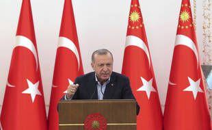 Le président de la Turquie, Recep Tayyip Erdogan, lors d'un discours à Ankara, le 8 mai 2021 (illustration).