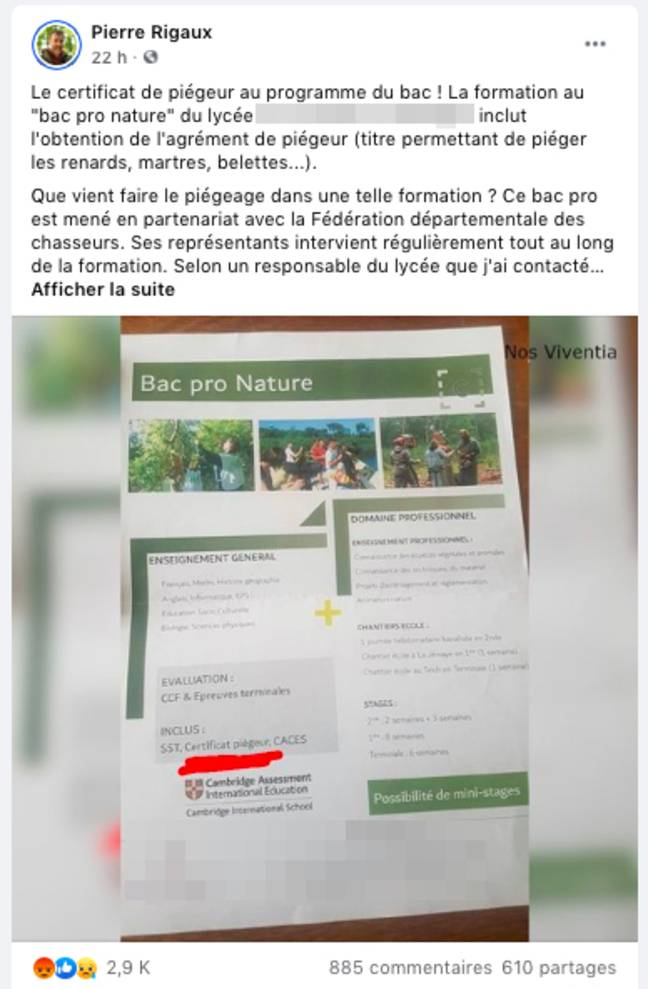 Un post publié sur Facebook par le naturaliste Pierre Rigaux.
