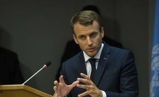 Emmanuel Macron à l'ONU le 19 septembre 2017.
