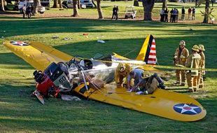 L'avion dans lequel Harrison Ford a fait un atterrissage d'urgence, près de Los Angeles, le 5 mars 2015.