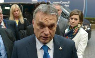Le Premier ministre hongrois Viktor Orban à son arrivée au sommet de l'UE à propos de la crise migratoire, à Bruxelles le 17 mars 2016