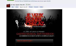 Page d'accueil de la page Facebook du casting organisé par AZ