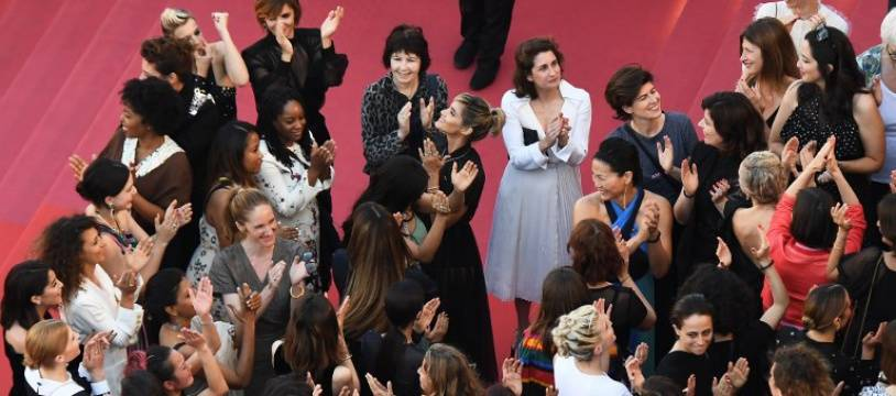 A Cannes, le 12 mai 2018, des femmes actrices, réalisatrices et productrices se sont mobilisées pour promouvoir la place des femmes dans le cinéma.