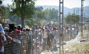 Des migrants attendent à la frontière grecque pour passer en Macédoine près du village de Gevgelija, le 3 septembre 2015
