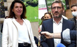 Christelle Morançais (LR) et Matthieu Orphelin (gauche unie) après l'annonce des résultats dimanche soir.
