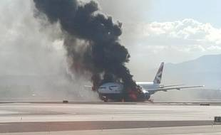 Un Boeing de British Airways a pris feu à Las Vegas le 8 septembre 2015. (avec la permission de Bradley Hampton)
