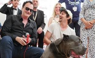 Quentin Tarantino avec le sosie de Brandy, le chien vainqueur de la Palm Dog 2019.