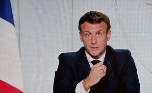 Emmanuel Macron lors de son allocution télévisée annonçant un second confinement, mercredi.