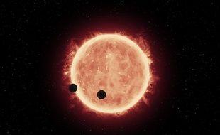 Vue d'artiste des exoplanètes Trappist-1b et Trappist-1c.