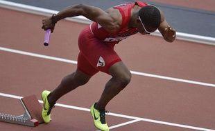 Manteo Mitchell, au départ du relais 4x400m, le 9 août 2012 à Londres.