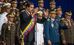 Nicolas Maduro lors d'un événement télévisé avec des soldats à Caracas, le 4 août 2018.