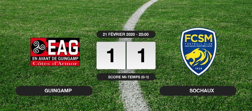 Ligue 2, 26ème journée: Match nul entre Guingamp et Sochaux sur le score de 1-1