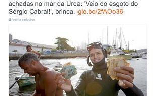 Au Brésil, les Cariocas plongent pour récupérer de l'argent soudainement apparu dans la baie de Rio de Janeiro, en novembre 2016.