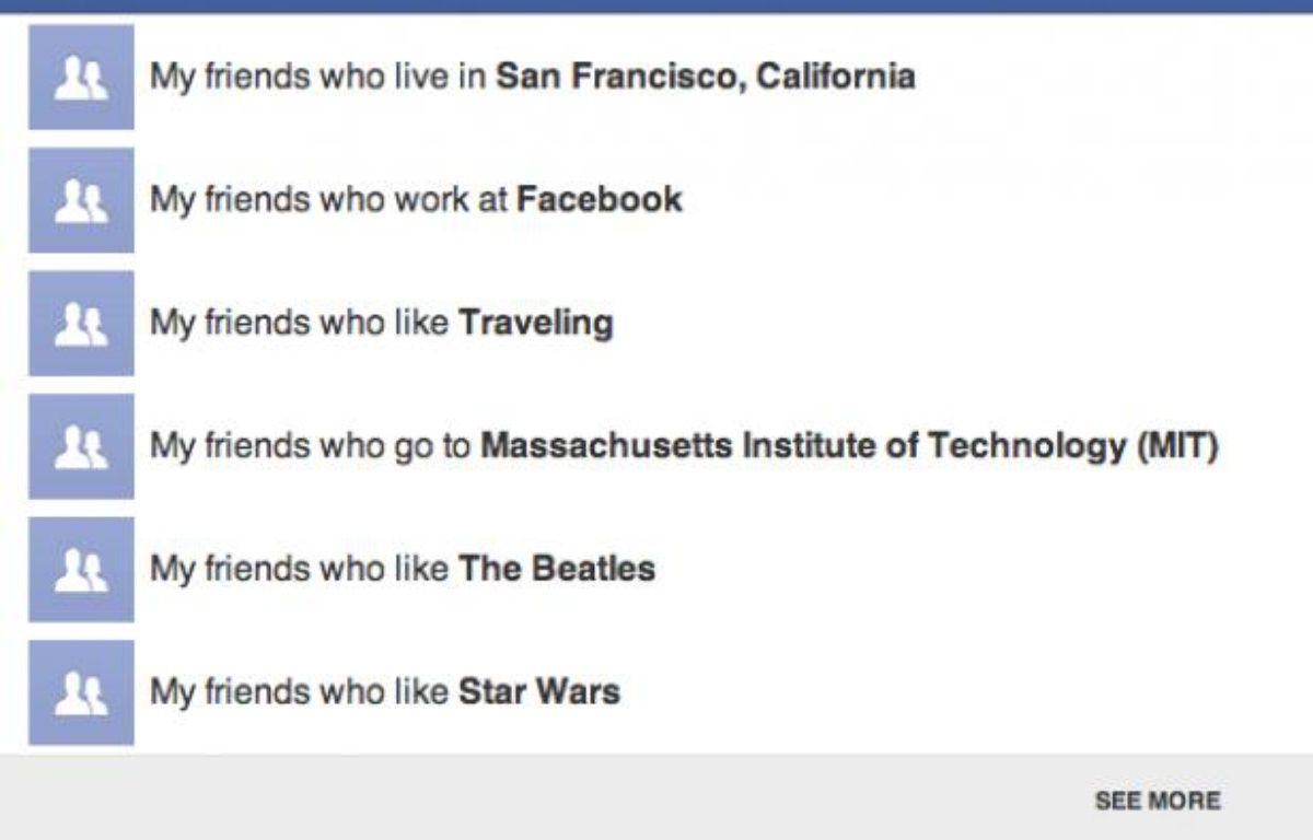 Facebook a présenté un nouvel outil de recherche sociale, le 15 janvier 2012. – DR