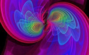 Vue d'artiste de deux trous noirs qui, en fusionnant, émettent des ondes gravitationnelles.