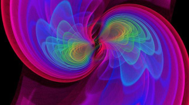 Vue d'artiste de deux trous noirs qui, en fusionnant, émettent des ondes gravitationnelles. – CNRS
