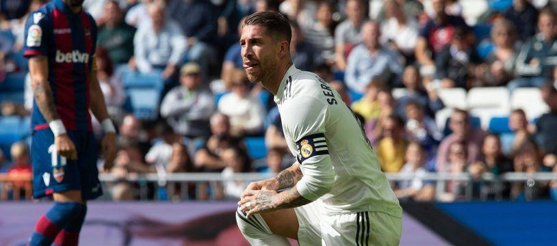 Sergio Ramos lors de la défaite du Real Madrid contre Levante (1-2), le 20 octobre 2018.