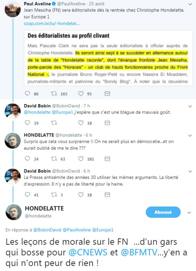 Un échange entre Jean Messiha, Christophe Hondelatte et leurs détracteurs.