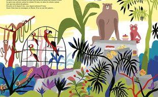 Double-page de «Poudre d'escampette au Jardin des plantes» de Didier Lévy et Anne Hemstege.