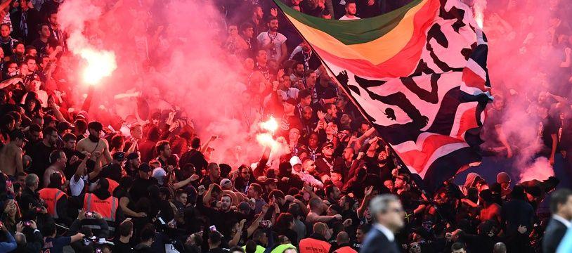 Les ultras parisiens lors de PSG-Belgrade.