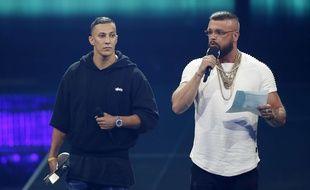 Les rappeurs allemand Kollegah & Farid Bang  ont reçu le prix Echo du meilleur groupe hip-hop allemand jeudi 12 avril 2018 à Berlin