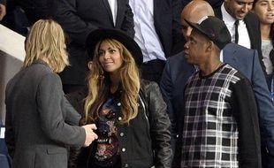 Beyoncé et Jay-Z au Parc des Princes lors de PSG-Barcelone, le 30 septembre 2014.