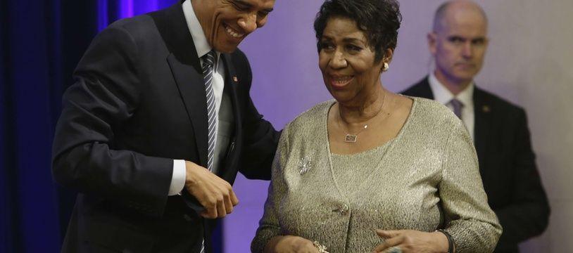 Barack Obama et Aretha Franklin en 2015.