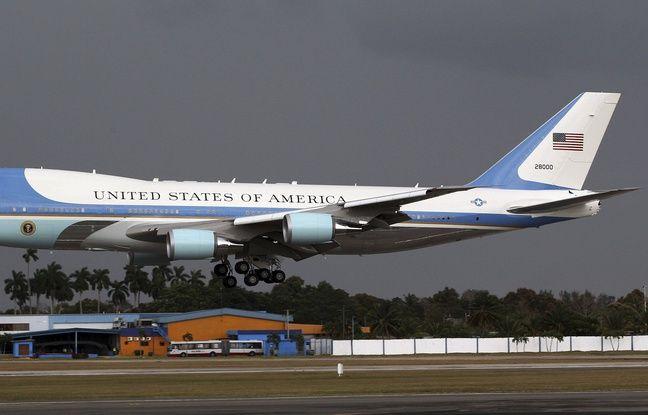 L'avion présidentiel américain se pose à La Havane, le 20 mars 2016.
