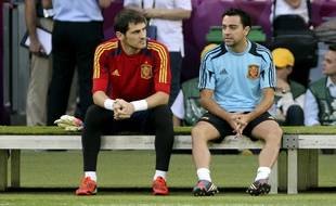 Xavi et Casillas avec la sélection espagnole, le 30 juin 2012.