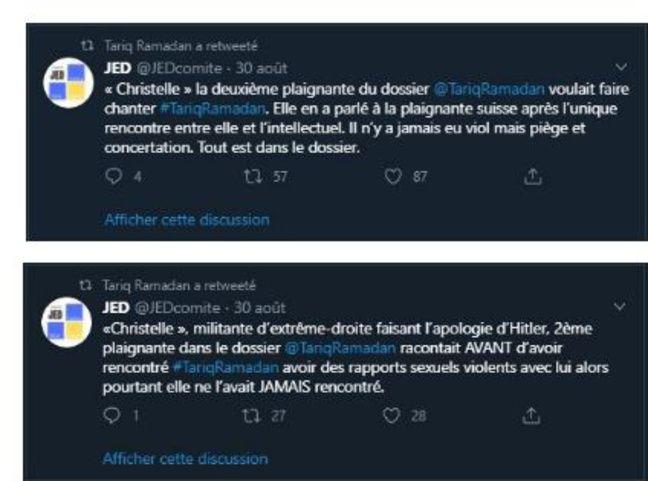 Captures de messages retweetés par Tariq Ramadan au sujet d'une de ses accusatrices.