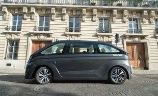 L'Autonom Cab, premier robot taxi autonome créé par la société lyonnaise Navya devrait être testé fin 2018 à Lyon, au Confluent...