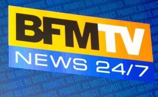 Logo de la chaîne d'information en continu BFM TV lors de la conférence de presse de rentrée le 5 septembre 2012.