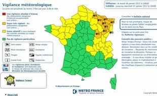 La carte de vigilance de Météo France publiée le 6 janvier 2015 à 16h.
