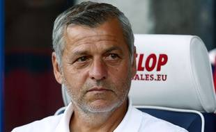 Bruno Genesio, le coach de l'OL, lors d'un match amical contre Huddersfield Town, le 25 juillet 2018.